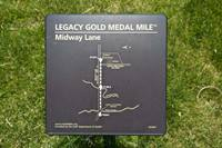The sign marking the start of Midway Lane Gold Medal Mile