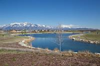 Oquirrh Lake with the snow-capped Wasatch Mountains in the distance