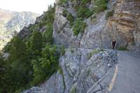 A steep, exposed section of the Timpanogos Cave Trail