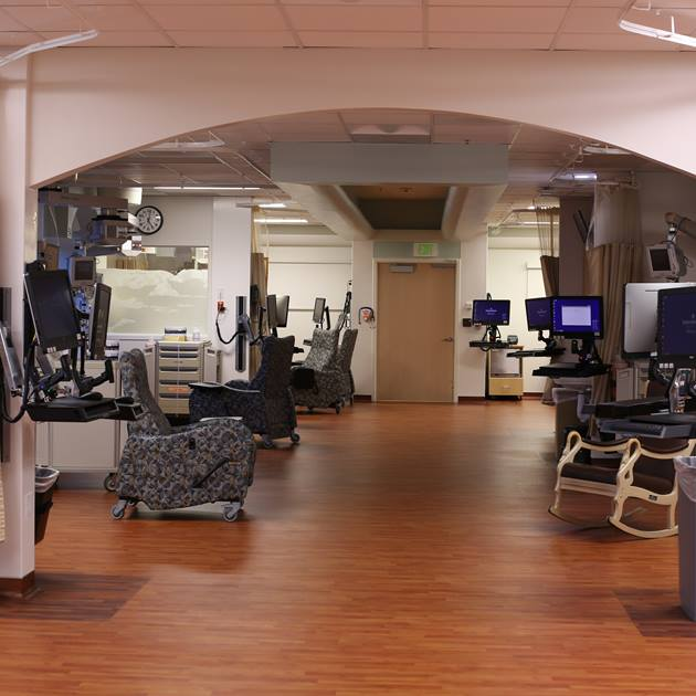 The beautiful, modern NICU at Utah Valley Hospital features an open layout for improved movement and care of newborns