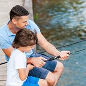 A father fishing with his son