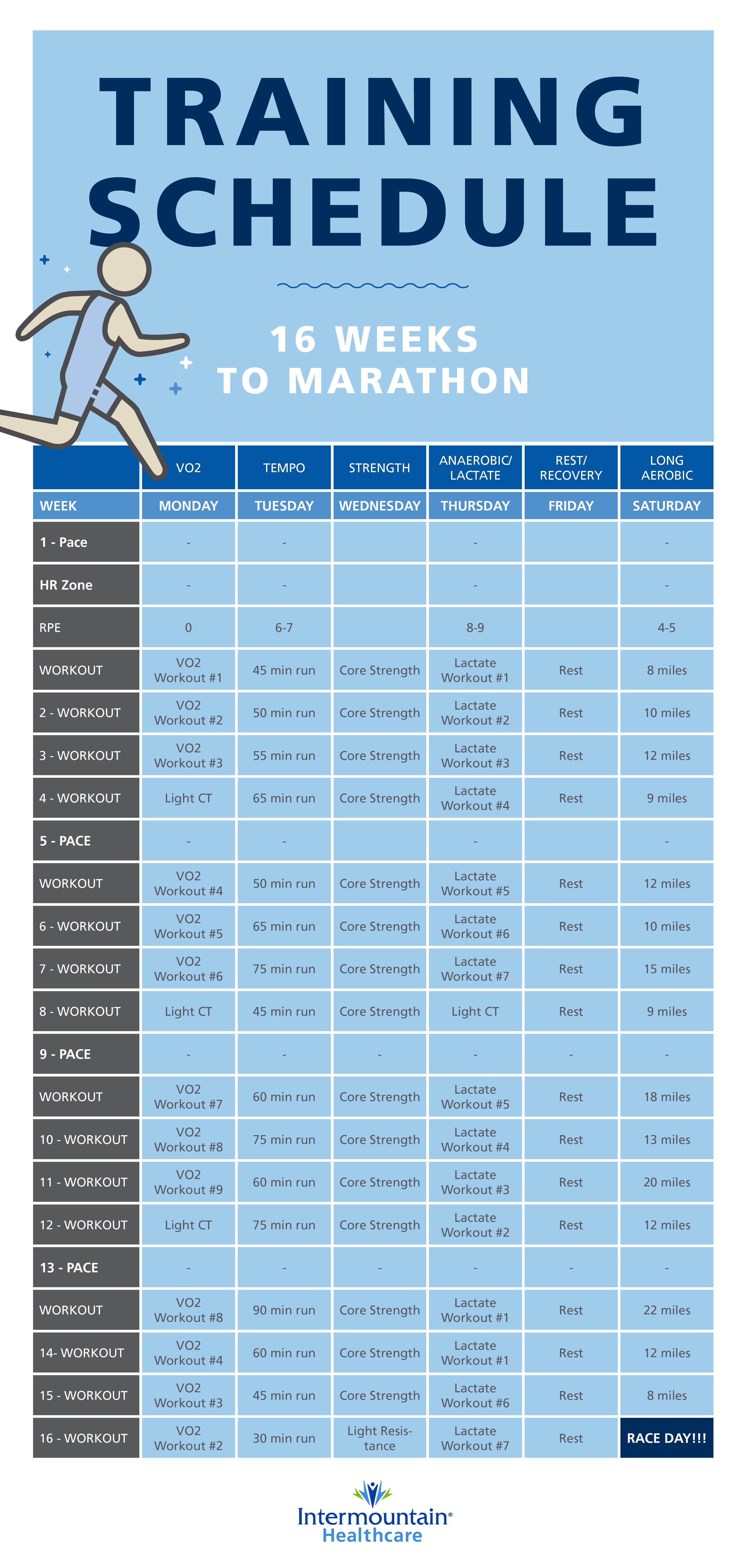 Your 16 Week Marathon Training Schedule