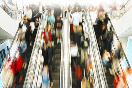 busy escalator