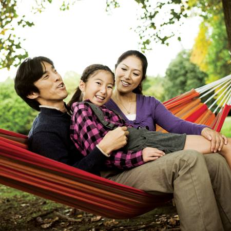 Family in hammock